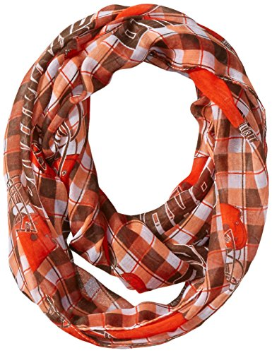 nfl-cleveland-browns-new-logo-sheer-infinity-plaid-scarf-one-size-brown-by-littlearth