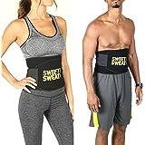 Elecsera Sweat Waist Fat Burner Belly Tummy Yoga Wrap Black Exercise Body Slim Look Belt (Sweat Belt)