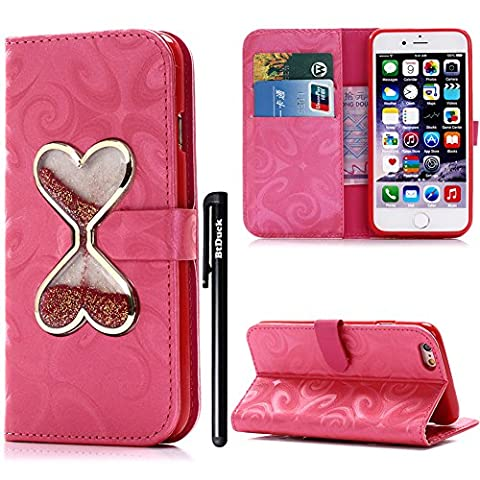 BtDuck Leather Case for Lady Girl Apple iPhone 7 Plus 5.5 inch Fluorescent Red Glitter Bling Bling Liquid Shell Heart-shaped hourglass Red PU Stand Pattern Phone Protector women PU Leather Flip Folio Cover Anti-slip Skin Outdoor Protection Simple Strict Shockproof Heavy Duty Robust Bumper Case Shell with Stander Oyster Card ( Travel Card Bus Pass ) Holder Slots Pocket Kickstand Function Magnetic Closure + 1 * Black Stylus Pen
