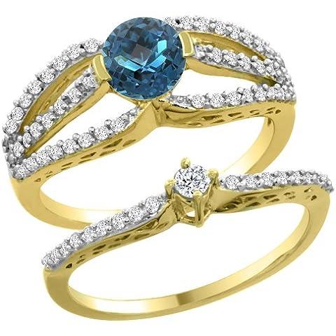In oro giallo, 14 carati, con topazio blu Londra 2-Set di anelli di fidanzamento, 5 mm, taglie J-T