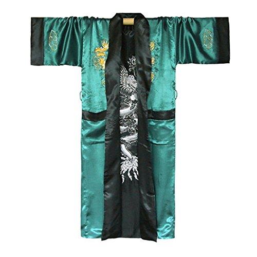 Japanischer Wende-Kimono Satin Morgenmantel für Damen & Herren mit Drachen-Stickerei (Grün, Einheitsgröße)