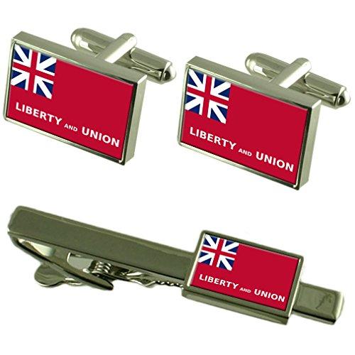 Taunton City USA Flagge Manschettenknöpfe Krawattenklammer Box Geschenk Set