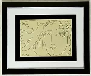 kunstdruck bild pablo picasso das gesicht des friedens signiert mit rahmen 58 x 48 cm. Black Bedroom Furniture Sets. Home Design Ideas
