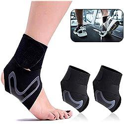 Sprunggelenk Bandage, ASANMU 1 Paar Bandage Fußgelenk Sprunggelenkbandage mit Klettverschluss Fußbandage für Herren und Damen Knöchelbandage Fussbandagen für Zerrungen, Verstauchungen und Sport - L