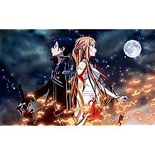 "0-HOD4ED Sword Art Online by Reki Kawahara Kazuto ""Kirito"" Kirigaya and Asuna Yuuki 56cm x 35cm,22inch x 14inch Silk Print Poster"