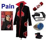 SUNKEE Traje de Cosplay para cosplay Naruto Akatsuki Pain Ninja Set- Capa (S:Tamaño 150cm-158cm)+caja de lápiz+Pain diadema+anillo+zapatos