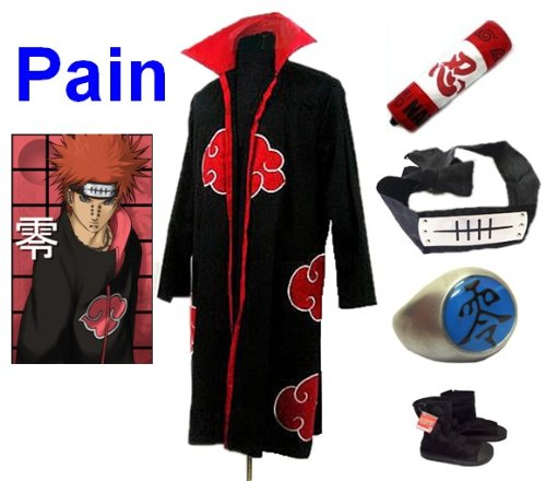 Cosplay Naruto Akatsuki Ninja cosplay costume per Pain Set-- mantello (XL:taglia 177cm-184cm)+ninja cassa di matita +Pain ninja fascia +Pain anello +scarpe