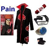 Naruto Akatsuki Pain Cosplay Kostüm Set (Akatsuki Cloak,Größe:S: Höhe 150cm-158cm + Pain Stirnband + Pain Ring + Naruto Federmäppchen + Ninja Schuhe)