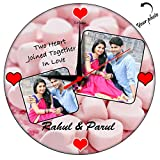 Huppme Personalized Two Heart Round Glas...
