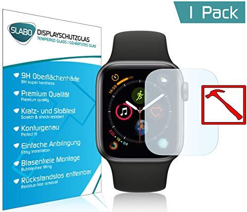 """Slabo PREMIUM Film protection d'écran en verre trempé pour Apple Watch Series 4 (40mm) protection écran film de protection (la taille des films est réduite à cause d'un écran bombé) """"Tempered Glass"""" CLAIR - Dureté 9H"""