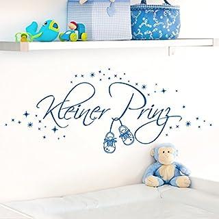 Wandora Wandtattoo Kleiner Prinz + Schuhe & Sterne I brilliantblau (BxH) 120 x 45 cm I Kinderzimmer Baby Jungen Sticker Aufkleber Wandaufkleber Wandsticker W1530