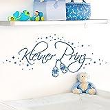 Wandora Wandtattoo Kleiner Prinz + Schuhe & Sterne I brilliantblau (BxH) 58 x 22 cm I Kinderzimmer Baby Jungen Sticker Aufkleber Wandaufkleber Wandsticker W1530
