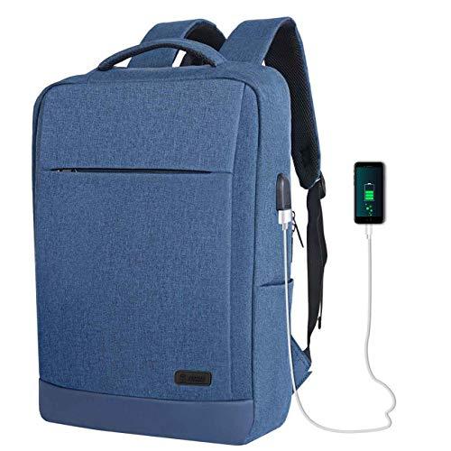 TECOOL 15.6 Pollici Zaino per Computer Portatile con Porta USB, Zaino per Laptop Impermeabile, Donna Uomo Zaino per Adolescente università Lavoro Scuola Viaggio, Blu