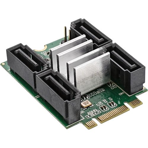 festplattenserver InLine 66910 M.2 PCIe 2.0 SATA Karte 4X SATA 6Gb/s, Raid 0,1,10,JBOD schwarz