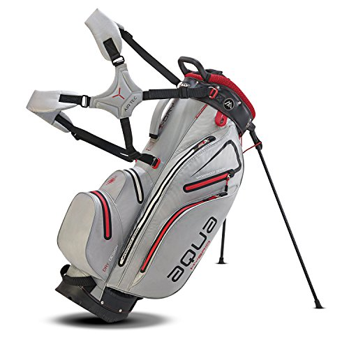 BIG MAX AQUA Hybrid Golf Stand & Cartbag 2018 - 100% Wasserdicht (Silver/Black/Red)