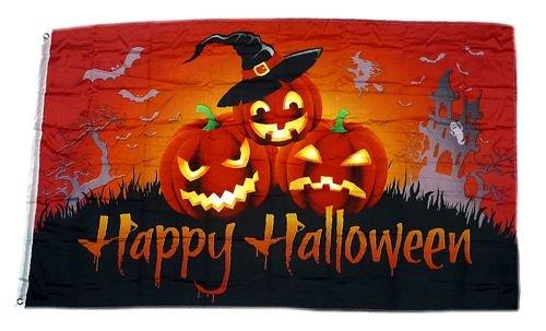 Fahne / Flagge Happy Halloween Kürbisse Hut 90 x 150 cm