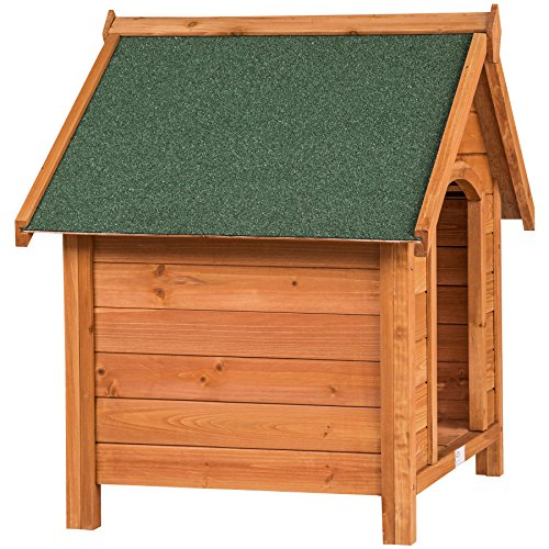 TecTake Hundehütte XXL Massiv Holz für Indoor und Outdoor 72x65x83 cm Hundehaus wetterfest mit aufklappbarem Spitzdach - 5