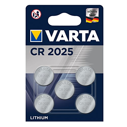 VARTA CR2025 Lithium Knopfzellen 3V Batterie in Original Blisterverpackung, 5er Pack