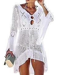 Tacobear Mujer Pareos Playa Traje de Baño Verano Vestido de Playa Sexy Bikini Cover up Camisola de Playa Túnica de Punto
