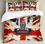 Union Jack Funda de edredón Set por Ambesonne, maleta de viaje Vintage con bandera de Reino Unido Londres cinta y corona imagen, juego de cama con almohada decorativa, color azul oscuro rojo marrón