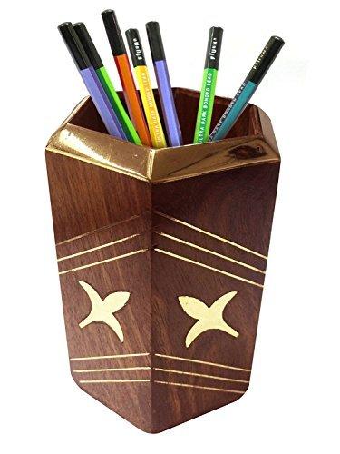 Portapenne rustico scolpito a mano in legno portapenne supporto organizzatore (4 pollici), fiore intarsio design octal scrivania accessorio, giorno di pasqua / festa della mamma / regalo del venerdì santo