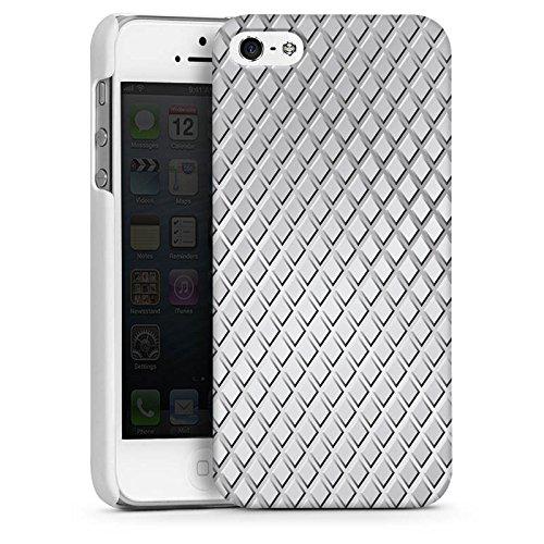 Apple iPhone 5s Housse Étui Protection Coque Acier Losanges Motif CasDur blanc