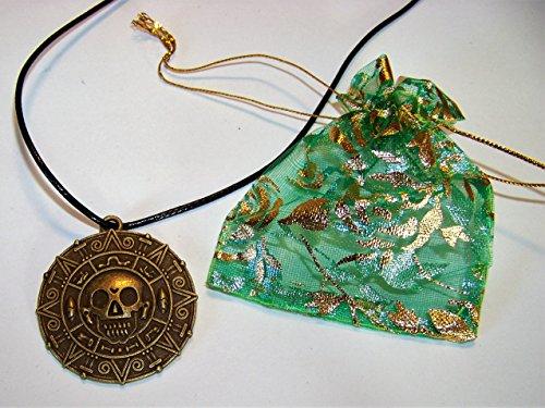 lskette Elizabeth Swann Medallion & ein Geschenkbeutel im Set , Farbe: Altbronze / Schwarz (Elizabeth Swann Kostüme)