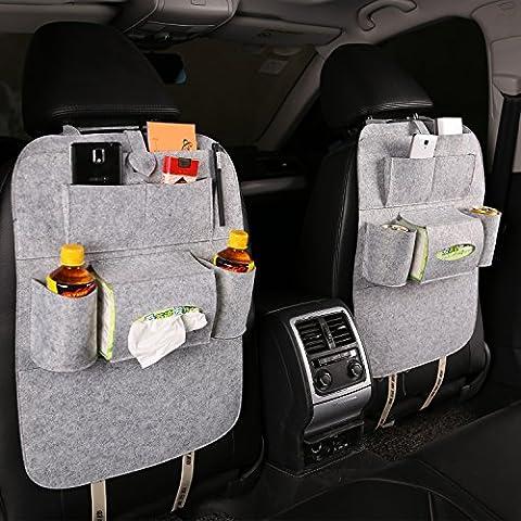 Timorn Woolen Felt Seat Back Car Organizer Kick Protectors for Kids, Multi-Pocket Travel Storage Bag for Bottles, Books, Tissue Box and Toys (Light Gray 2 pack)