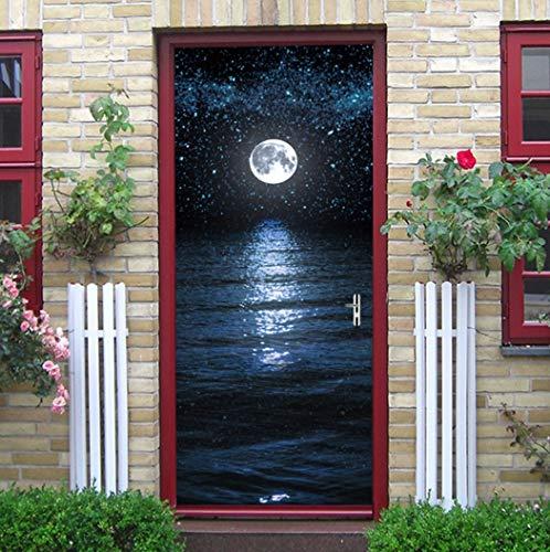 Tür Aufkleber Silvester Weihnachten Meer Mond Schlafzimmer Wohnzimmer Aussicht Europäischen Stil Wandaufkleber Wasserdichte Applique 3D Aus Qt XINGMU