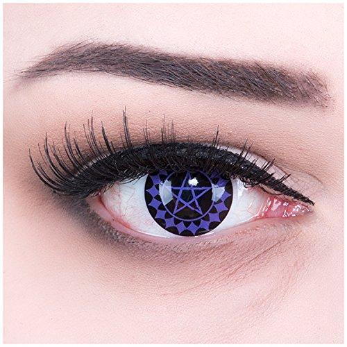 EIN PAAR Farbige Manga Anime Naruto Cosplay 14mm Kontaktlinsen \'Black Butler\' mit gratis Linsenbehälter und Kombilösung. Perfekt für Fasching!