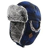 SIGGI Winter Unisex warme Fliegermütze weiche Trappermütze mit Kunstfell Herren Blau XL