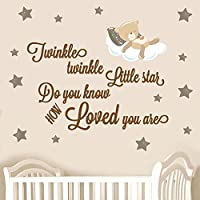 Twinkle Twinkle Little Star Do You Know How Loved You Are with Sleepy Teddybear and 15 Stars to apply anywhere on your wall - Brown - To change text size, click the option below