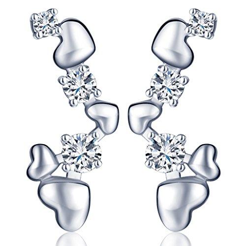 yumilok gioielli cuori da donna in argento Sterling 925con zirconi orecchini Ear Cuff Sweep, orecchini, ipoallergenico