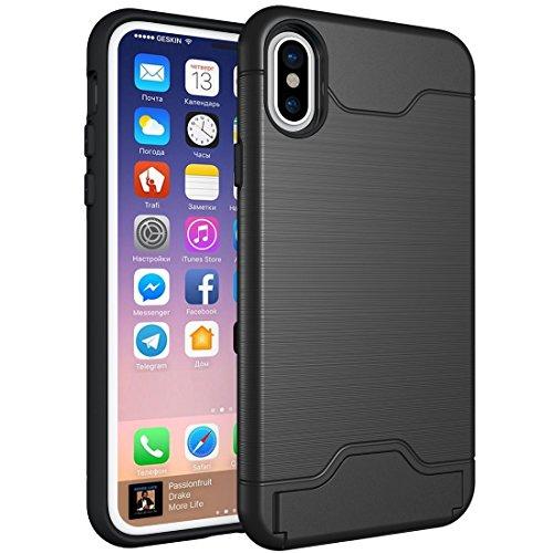 GR iPhone 8 Cover Case-Brushed Texture Schutzhülle mit Halter und Kartenfach, kleine Menge empfohlen, bevor das iPhone 8 startet ( Color : Green ) Black