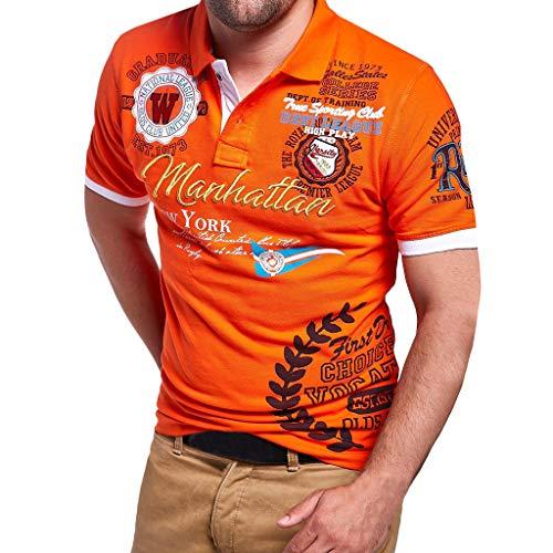 Herren Poloshirt Polo Polohemd Kurzarmshirt Besticken Basic Shirt, T Shirts Männer Coole Print Sweatshirt Slim Fit (Orange, XXXL) -