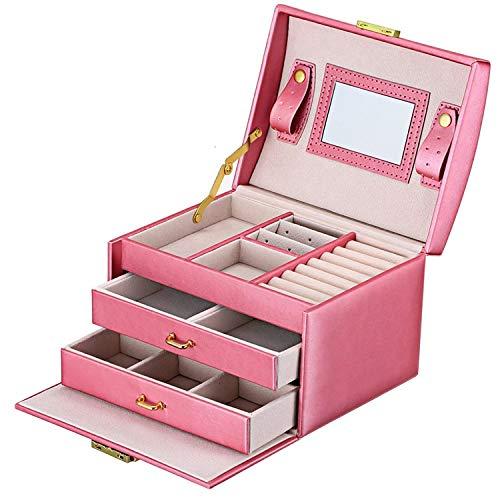 JOJJJOJ Schmuckkästchen Schmuck Oganiser DREI Schichten PU Leder Schmuck Aufbewahrungsbox mit Spiegel und Schloss für Mädchen und Frauen Geschenk (Farbe : Pink)