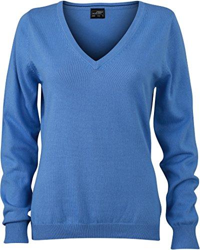 Ladies' V-Neck Pullover - taillierter Damen V-Neck Pullover L,Glacier Blue (Klassische Baumwolle)