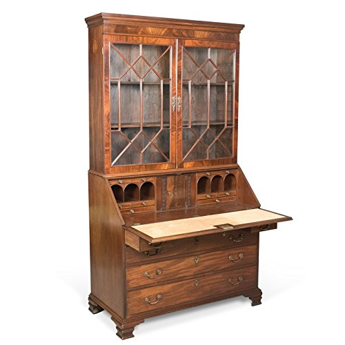 Antik Sekretär Bücherregal, Englisch, spät Georgian, Mahagoni, Schreibtisch C.1800