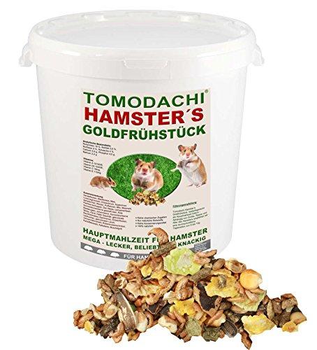 Hamsterfutter mit tierischem Eiweiß, Alleinfuttermittel für Hamster mit Bachflohkrebsen (Gammarus), leckerem Gemüse, Körnern und Saaten, Tomodachi® Hamster's Goldfrühstück 1kg Eimer