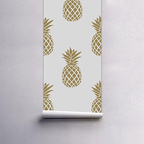 Creativo Decorativo Autoadesiva Dormitorio Carta Da Parati Dorata Ananas Elegante E Minimalista Impermeabile Ecologico 53 X122 Cm