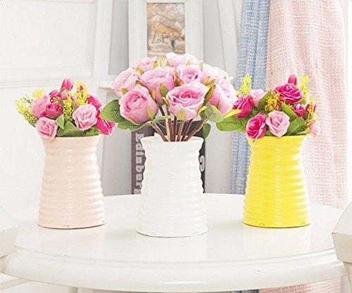 Hosaire Vase Kreativ Plastik Vase Blumen Pflanzen Set Wohnzimmer Dekoration Blumen Arrangement Blume Vase,Weiss - 6