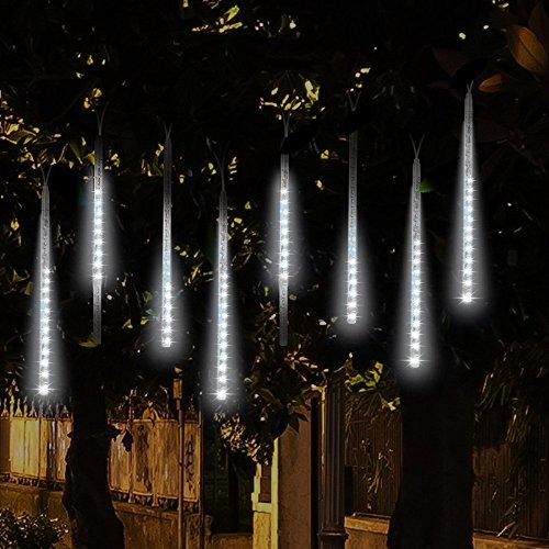 Lumières de pluie de baisse de chute avec 30cm 8 tubes 144 LED, Lumière de douche de météorite, chute de baisse de pluie Lumières de Noël, Icicle Lumières de corde pour fête de mariage de mariage Décoration de Noël-Décoration (blanc)
