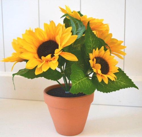 Sonnenblume im Topf Pflanze Sonnenblume Deko Dekoblume Blume künstlich Kunstpflanze 22cm