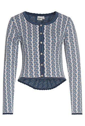 DISTLER Damen-Strickjacke mit Schößchen, Damen Damen-Strickjacke,Trachten-Jacke,trachtlich, grau-blau,40