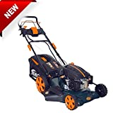 BMC Lawn Racer 20' Self Propelled Electric Push Button Start Lithium Ion Battery 5.5HP 4 Stroke Rotary Petrol Lawn Mower with 60L Grass Collection Bag, All Steel Deck, 4 in 1 Function Cut, Cut & Collect, Mulch, Side Discharge