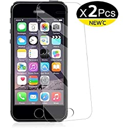 NEW'C Lot de 2, Verre Trempé pour iPhone 5,5S,Se,5C, Film Protection écran - Anti Rayures - sans Bulles d'air -Ultra Résistant (0,33mm HD Ultra Transparent) Dureté 9H Glass
