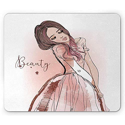 Beauty Mouse Pad,Bleistift Gezeichnete Verträumte Mädchen Mit Langen Haaren,Rechteck rutschfeste Gummi-Mousepad,Redwood Blush White -