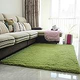DGF Moderne dicke Seide Teppich Wohnzimmer Couchtisch Schlafsofa Schlafzimmer Teppich (Farbe: Gras grün, silbergrau) Teppich ( Farbe : Grün , größe : 1.6*2.0 M )