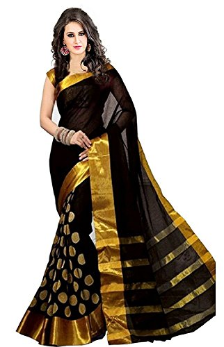 kiranz web store Women's Cotton Silk Saree With Blouse Piece (Kwsmpb_240_02_Black)