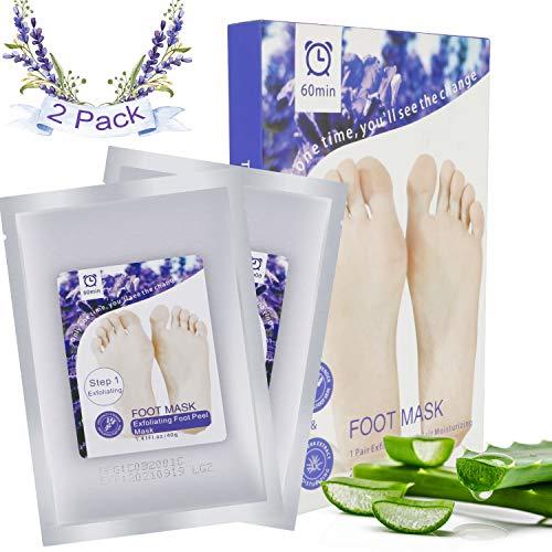RenFox Fußmaske Hornhaut Entfernung 2 Paar Exfoliating Foot Mask Fußmaske Hornhautentferner fuß Peeling Maske Fußpeeling Socken (Lavendel Aloe) - Fuß-pflege-set 5 Stück
